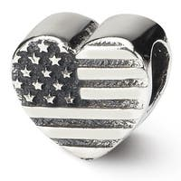 Sterling Silver Reflections Heart Flag Bead (4mm Diameter Hole)