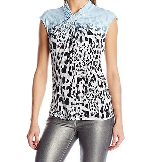 Calvin Klein NEW Blue Animal Print Women's Small S Twist Knot Blouse
