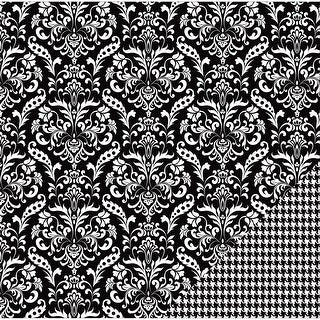 """American Crafts Basics Double-Sided Cardstock 12""""X12""""-Black Damask"""