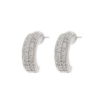 14k Gold White Diamond Half Hoop Earrings