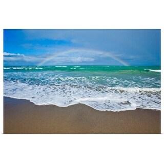 """Rainbow over ocean."" Poster Print"