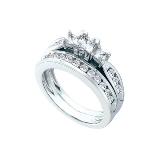 1 Ctw Diamond 3 Stone Bridal Engagement Ring 14K White-Gold