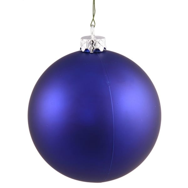 "Matte Cobalt UV Resistant Commercial Drilled Shatterproof Christmas Ball Ornament 8"" (200mm) - BLue"