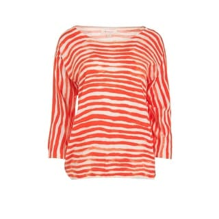 Two by Vince Camuto Womens Striped 3/4 Sleeves Pullover Sweater - S
