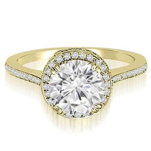 1.50 cttw. 14K Yellow Gold Double Halo Round Cut Diamond Engagement Ring