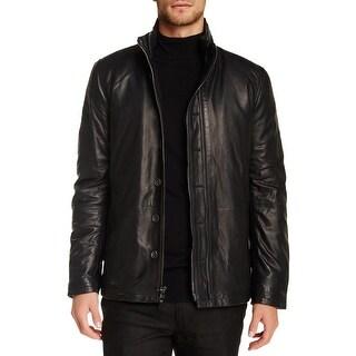 John Varvatos Filled Double Zip Lambskin Leather Black Jacket 52 Large L