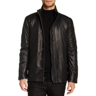 John Varvatos Filled Double Zip Lambskin Leather Black Jacket 54 X-Large XL