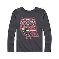 Boho Owl - Youth Girl Long Sleeve Tee