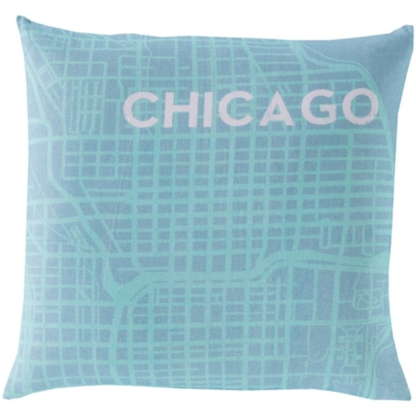 """18"""" Aqua Blue and Light Gray Show Stopping """"CHICAGO"""" Decorative Throw Pillow Shell"""