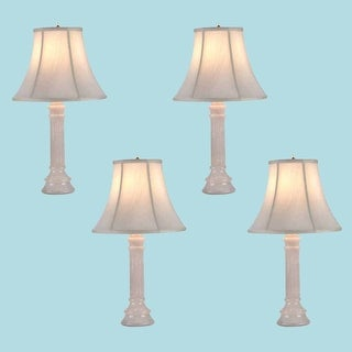 4 Table Lamp White Alabaster Pillar Beige Shade 22H