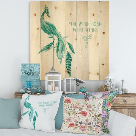 Designart 'Mystic Mint Bird You Were Born With Wings' Traditional Print on Natural Pine Wood