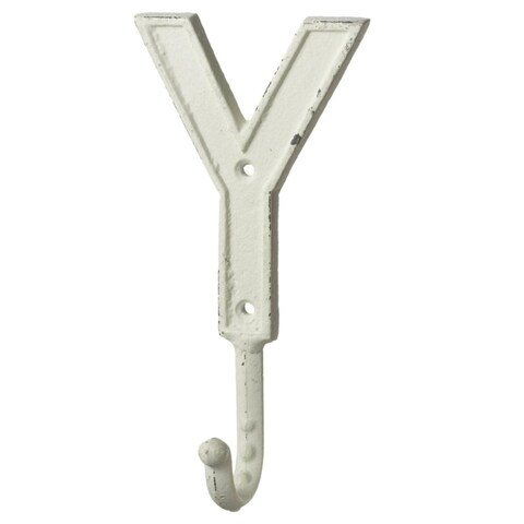 """Set of 4 Ivory """"Y"""" Shaped Decorative Rustic Iron Wall Hooks with Holes 7.4"""""""
