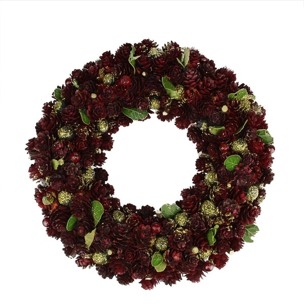 "18"" Wine Burgundy and Gold Glitter Pine Cone Artificial Christmas Wreath - Unlit"