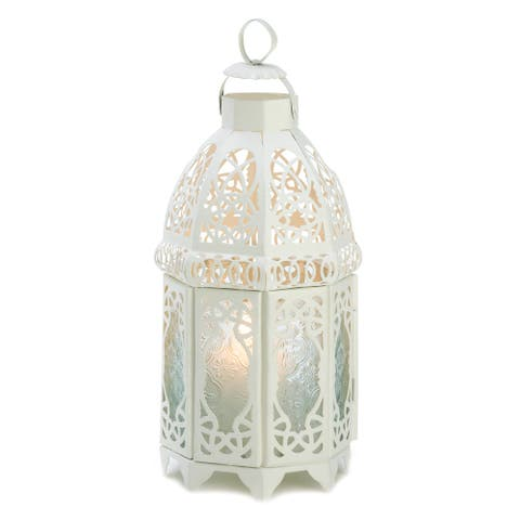 White Moroccan Style Lantern with 1 White Led Tea Light with Timer