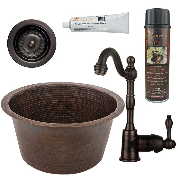 Premier Copper Products BSP4_BR17DB-D Bar Sink, Faucet and Strainer Drain Package. Opens flyout.