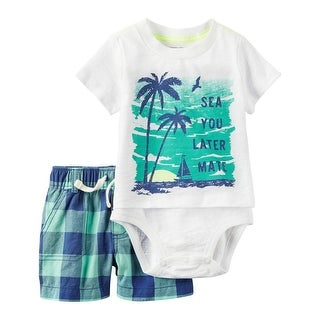 Carter's Baby Boys' 2-Piece Bodysuit Short Set, 3 Months