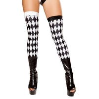 Diamond Jester Leggings, Black And White Thigh Highs - BLACK/WHITE - One Size Fits most