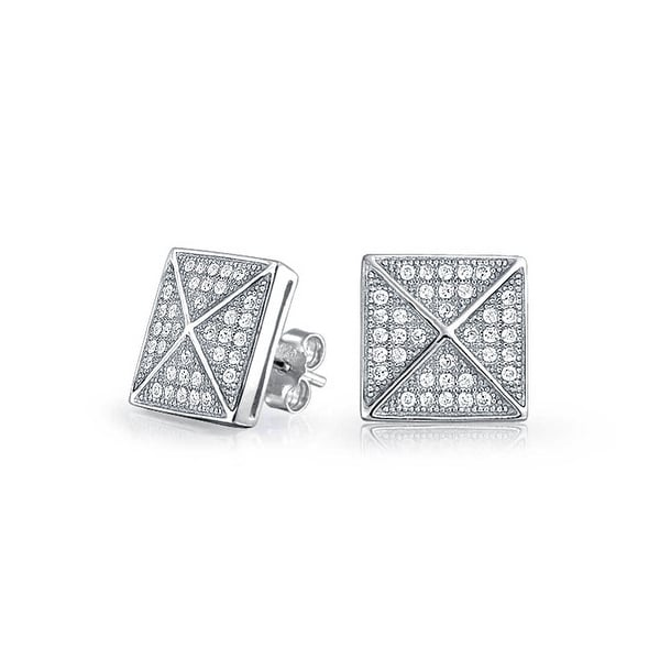 fcdf0b59f Shop Geometric Pyramid Square Shaped Cubic Zirconia Square Micro Pave CZ Stud  Earrings For Men Women 925 Sterling Silver - On Sale - Free Shipping On  Orders ...