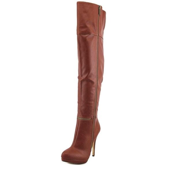 4d665ec7b43 Michael Antonio Wynni Women Round Toe Synthetic Tan Over the Knee Boot