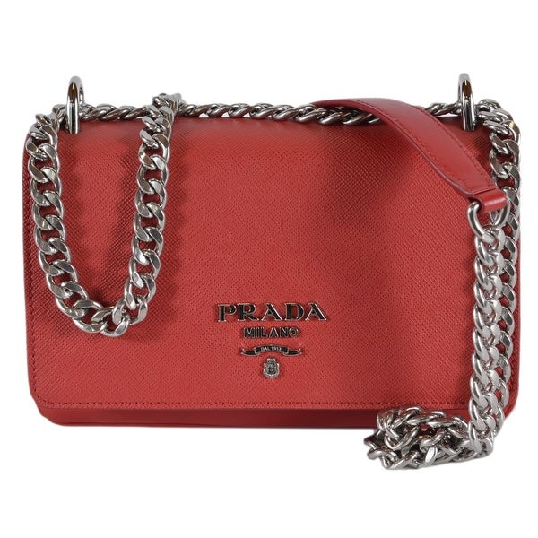 c7744fba017d Prada 1BD144 Soft Fuoco Red Calf Saffiano Leather Crossbody Small Chain Bag