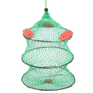"""Unique Bargains 23.2"""" x 14.2"""" 2 Sections Foldable Fishing Landing Net Fish Keepnet Cage for Fishermen Green Red"""