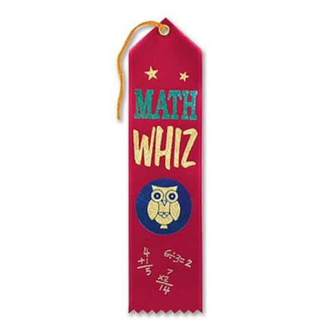 """Pack of 6 Red Math Whiz School Award Ribbon Bookmarks 8"""" - N/A"""
