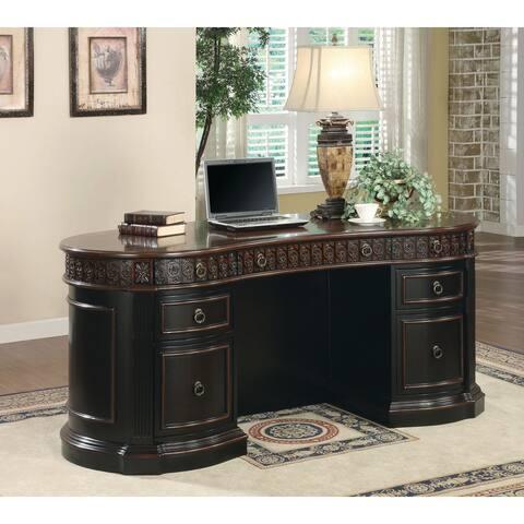 Gracewood Hollow Adebayo 7-drawer Espresso and Chestnut Executive Oval Desk