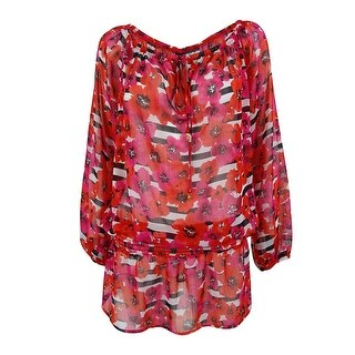 Jones New York Women's Floral Print Tunic Coverup - Coral Red - S