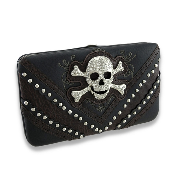 Embroidered Flat Wallet w/Chrome Studs and Jeweled Skull + Crossbones