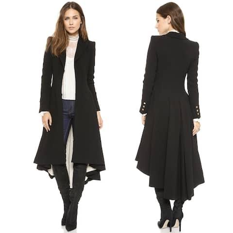 Women's Slim Long Dovetail Turn-Down Collar Trench Coat