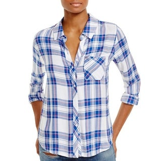 Rails Womens Juniors Hunter Button-Down Top Herringbone Plaid