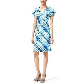 NY Collection Petite Printed Knot Front Dress Aqua Boxfade