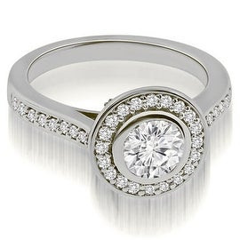 1.00 cttw. 14K White Gold Cathedral Halo Bezel Round Diamond Engagement Ring