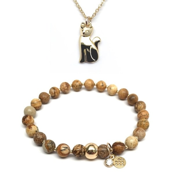 "Brown Jasper 7"" Bracelet & Cat Gold Charm Necklace Set"