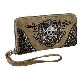 Rhinestone Skull Metallic Trim Wallet w/Removable Wrist Strap (Option: Beige)