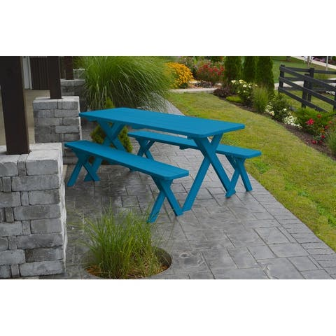 Pine 5' Cross-Leg Picnic Table with 2 Benches