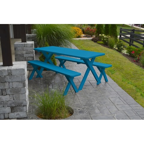 Pine 6' Cross-Leg Picnic Table with 2 Benches