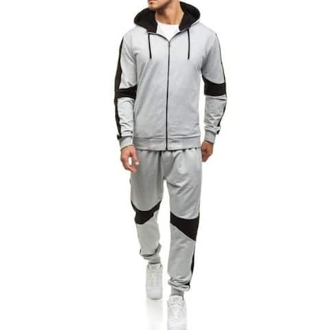 Men's Full Zip Warm Tracksuit Sports Set Casual Sweat Suit &Pant