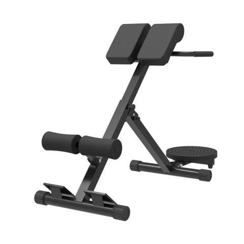 Folding Roman Chair Back Hyper Extension Adjustable Bench Waist Plate Machine Strength Training Equipment - 30L X 14W X 27H inch