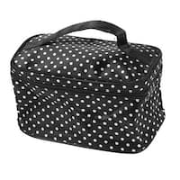 Dots Pattern Mirror Pockets Polyester Makeup Cosmetic Bag for Lady