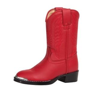 Durango Western Boots Girls Round Toe Cowboy Heel Red Chrome BT755