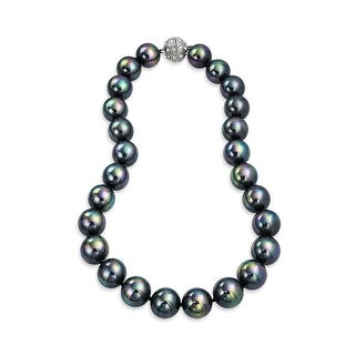 Bling Jewelry Rhodium Plated Imitation Rainbow Pearl Bridal Necklace - Black