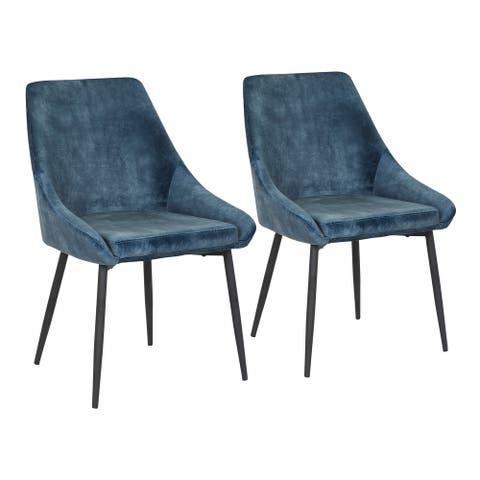 Silver Orchid Alba Upholstered Dining Chair with Black Metal Finish - Set of 2