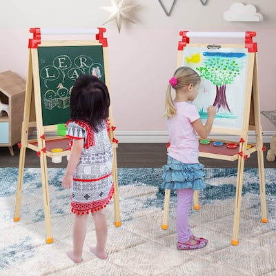 """96-132cm Shaft Children Magnetic Standing Art Easel with Tray - (28.15 x 22.44 x 3.15)"""""""