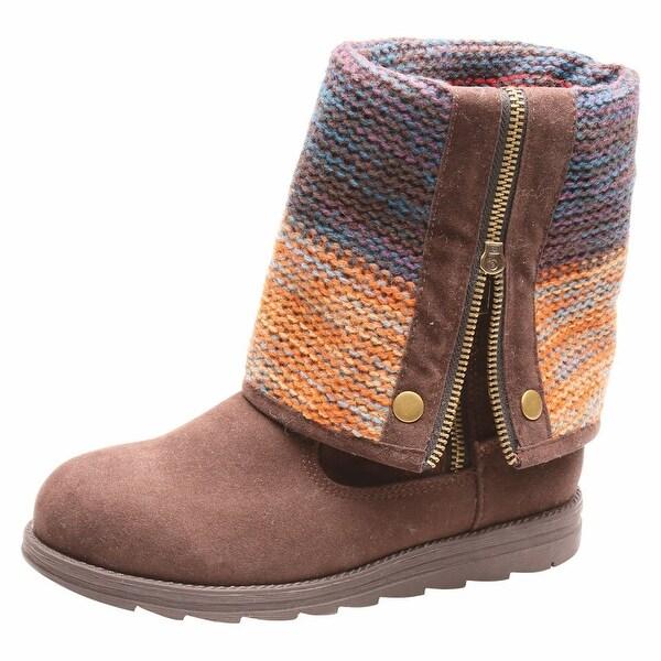 Women's Autumn Sunset Roll-Cuff Brown Suede Boots