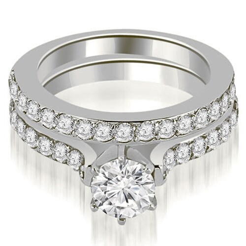 1.65 cttw. 14K White Gold Cathedral Round Cut Diamond Engagement Matching Set