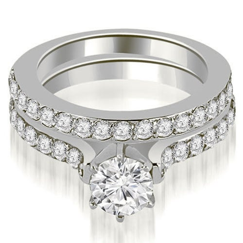 1.90 cttw. 14K White Gold Cathedral Round Cut Diamond Engagement Matching Set
