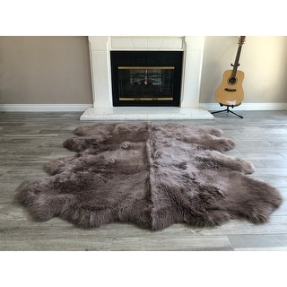 "Link to Dynasty Natural 8-Pelt Luxury Long Wool Sheepskin Shag Rug - 5'5 x 6'8"" Similar Items in Shag Rugs"