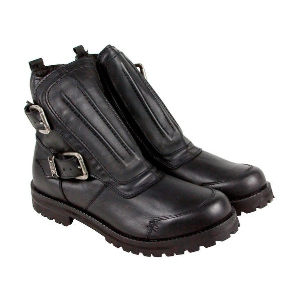 GBX Shaed Mens Black Leather Casual Dress Strap Boots Shoes