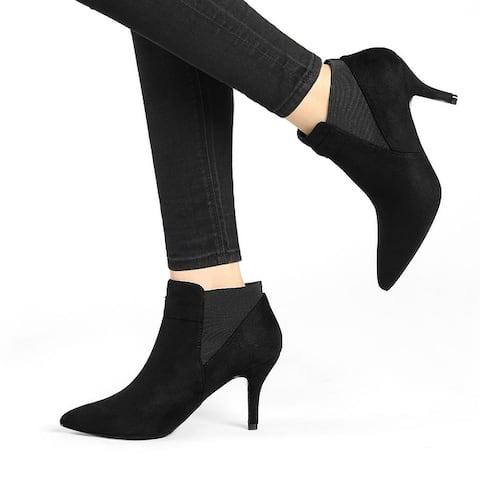 Women's Pointed Toe Stiletto Heels Chelsea Boots